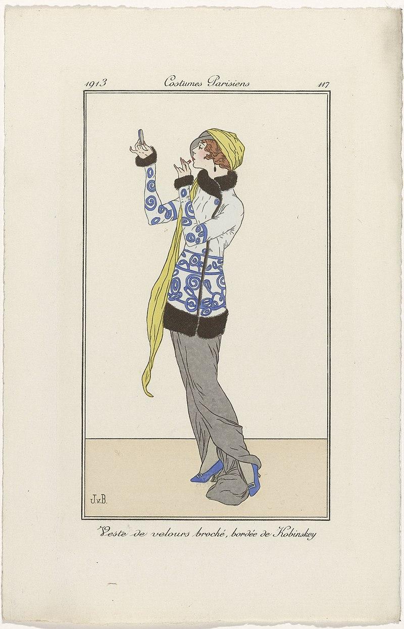 800px-Journal_des_Dames_et_des_Modes,_Costumes_Parisiens,_1913,_No._117_Veste_de_velours_(..),_RP-P-2009-1793