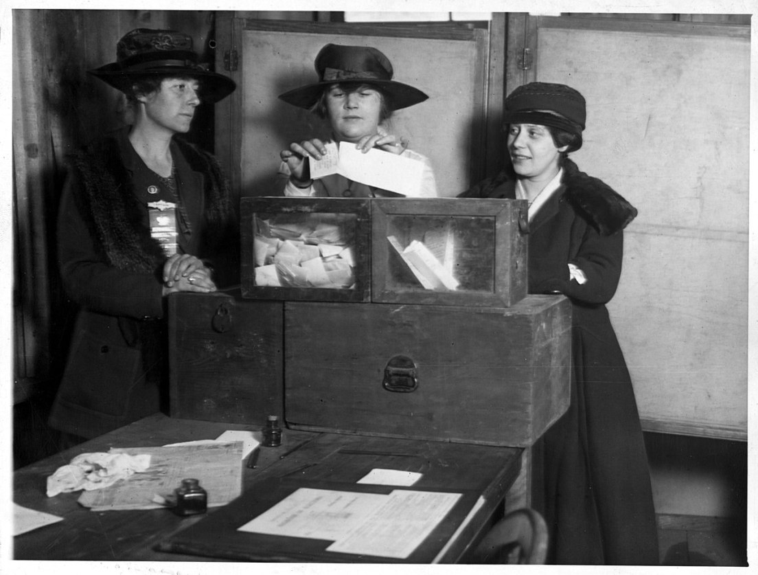 """Calm about it. At Fifty-sixth and Lexington Avenue, the women voters showed no ignorance or trepidation, but cast their ballots in a businesslike way that bespoke study of suffrage."" National Photo Company Collection (Library of Congress). National Photo Company Collection / Public domain"